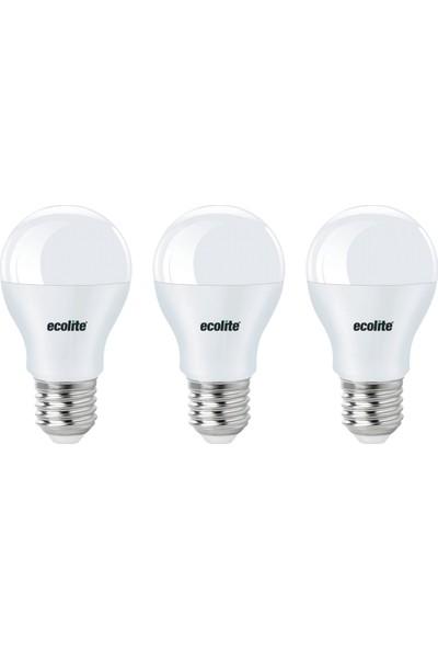 Ecolite Classic 9W A60 LED Ampul – 3'lü Ekonomik Paket Beyaz