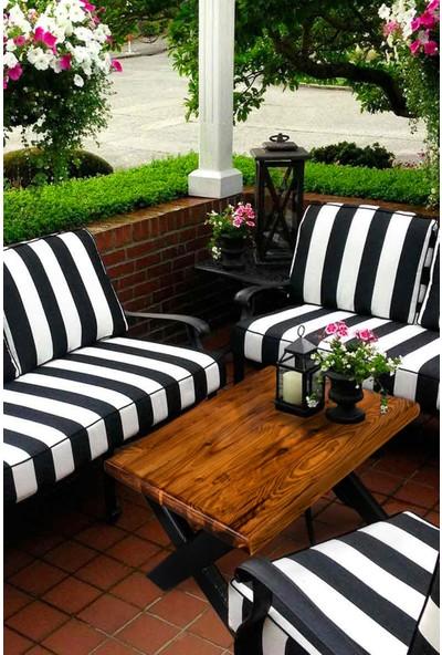 Grootland Siyah Ayaklı Ahşap Orta Sehpa Bahçe Balkon Masası