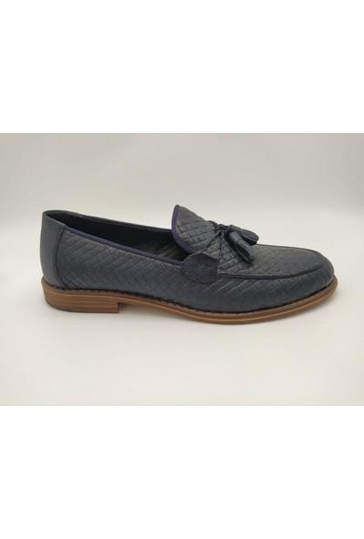 Akm 002 Hakiki Deri Lacivert Corcik Erkek Ayakkabı