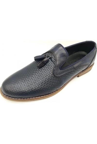Akm 003 Lacivert Deri Corcik Erkek Ayakkabı
