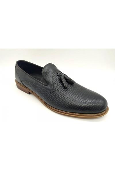 Akm 003 Siyah Deri Corcik Erkek Ayakkabı