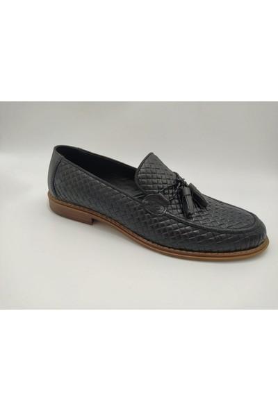 Akm 002 Deri Piramit Siyah Corcik Erkek Ayakkabı