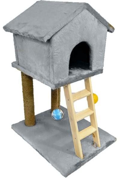 Mila Süngerli Merdivenli Kedi Tırmalama Evi Gri
