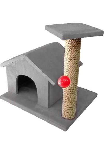 Mila Süngerli 50 cm Tırmalamalı Kedi Evi Gri