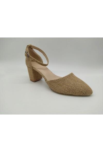 Rima Düzgova Hasır Bilekten Baglı 7 cm Topuklu Kadın Ayakkabı
