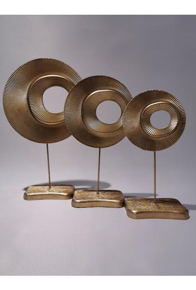 Art Home Dekoratif Gold Halka Obje 3'lü Set