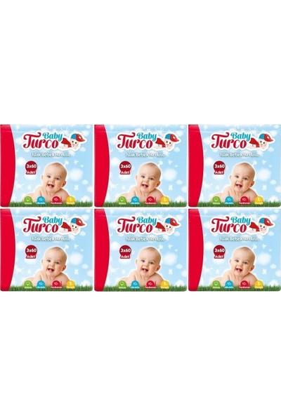Baby Turco Islak Havlu Mendil Klasik Plastik Kapaklı 6'lı Set 1080'LI
