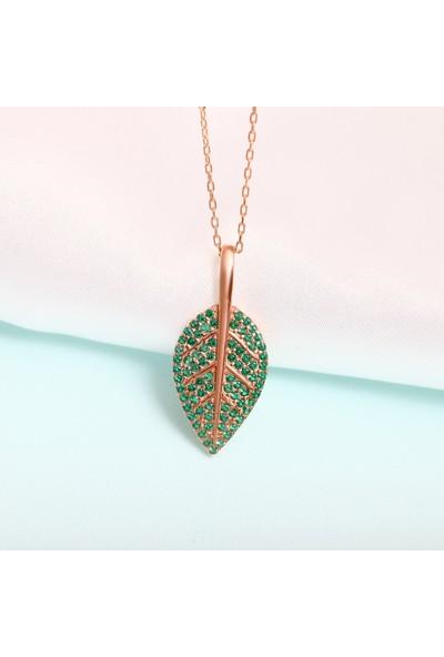 Lotus Gümüş Zümrüt Taşlı Zeytin Yaprağı Motifli 925 Ayar Gümüş Kadın Kolye