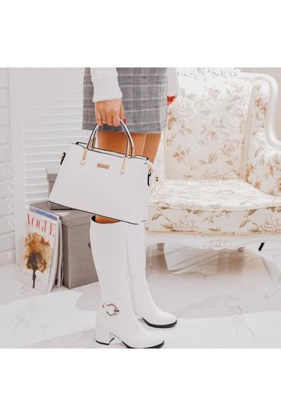 Limoya Bahama Beyaz Kırışık Rugan Aksesuarlı Orta Topuklu Dizaltı Çizme