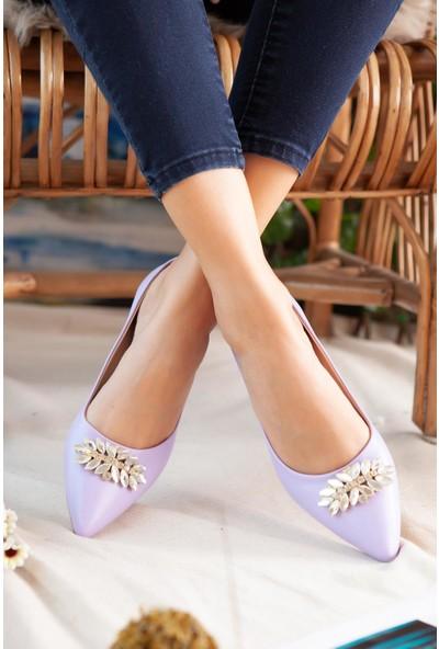 Limoya Casey Mor Taşlı Kısa Topuklu Ayakkabı
