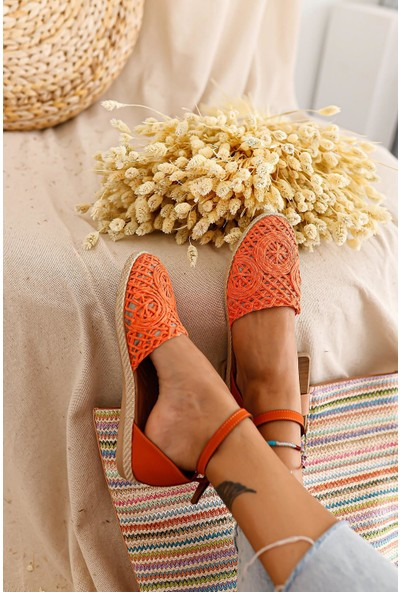 Limoya Emely Portakal Örgü Detaylı Sandalet
