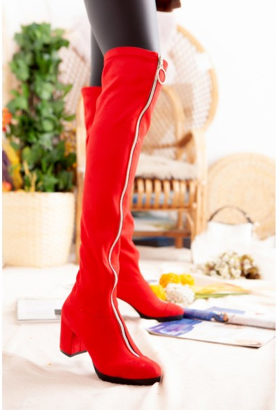 Limoya Janice Kırmızı Süet Önden Fermuarlı Dizüstü Streç Çizme