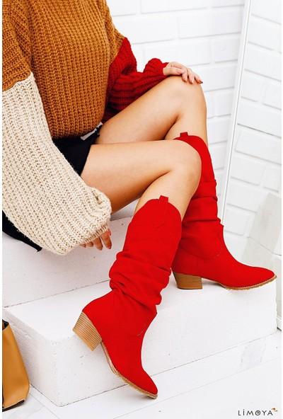 Limoya Kinslee Kırmızı Süet Körüklü Alçak Topuklu Koybov Tarzı Çizme