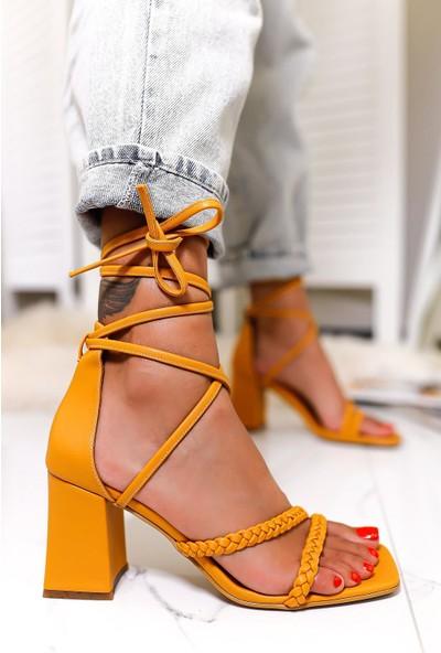 Limoya Rainbow Hardal Örgülü Sandalet