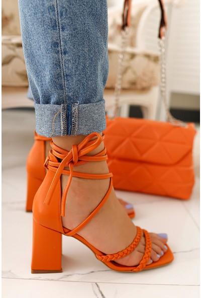 Limoya Rainbow Oranj Örgülü Sandalet