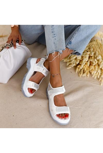 Limoya Rosta Beyaz-Gümüş Hologram Cırtlı Ve Taşlı Spor Sandalet