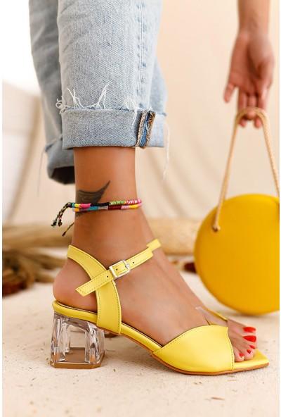 Limoya Rouge Limon Şeffaf Bantlı Sandalet Şeffaf Topuklu