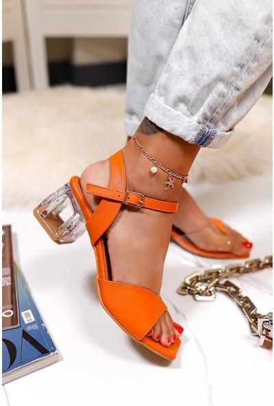 Limoya Rouge Portakal Şeffaf Bantlı Sandalet Şeffaf Topuklu