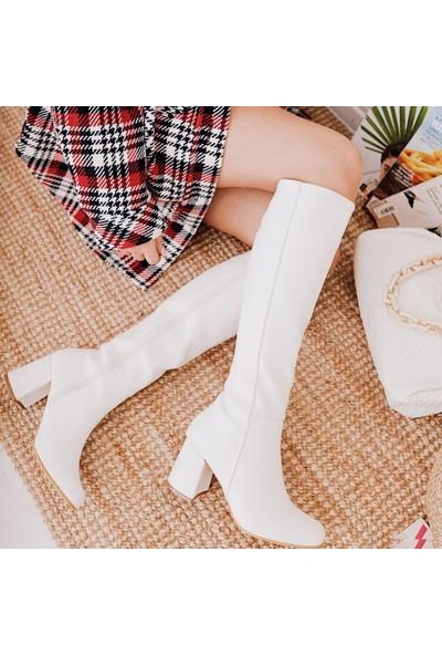 Limoya Savanna Beyaz Kısa Topuklu Dizaltı Fermuarlı Çizme