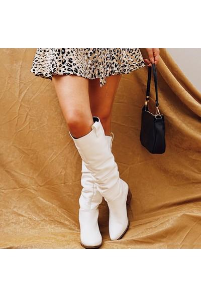 Limoya Simon Beyaz Körüklü Kovboy Stili Çekme Çizme