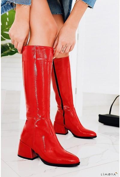 Limoya Tinley Kırmızı Kırışık Rugan Çizme