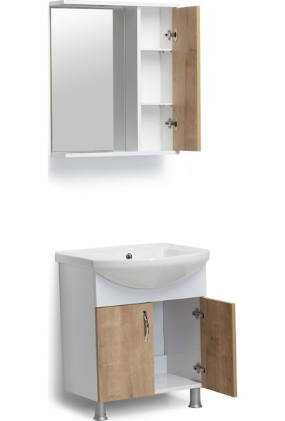 Hepsi Home Saydam Evita MDF Banyo Dolabı 60 cm Meşe Beyaz