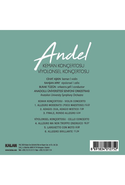 Andel - Keman-Viyolonsel Konçertosu/cd