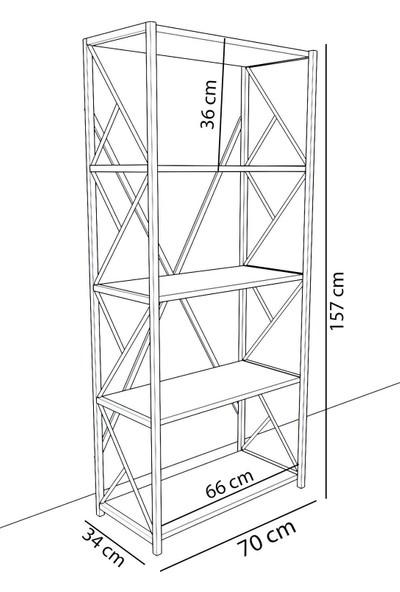 Hesaplı Mobilya Metal Beyaz 5 Raflı Kitaplık Kütüphane