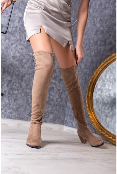 Divolya Kadın Jessica Süet Yuvarlak Burunlu Kalın Topuklu Diz Üstü Çizme