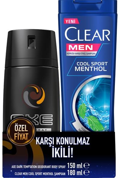 Axe Dark Temptation Erkek Deodorant Sprey 150 ml + Clear Men Şampuan Cool Sport 180 ml Set