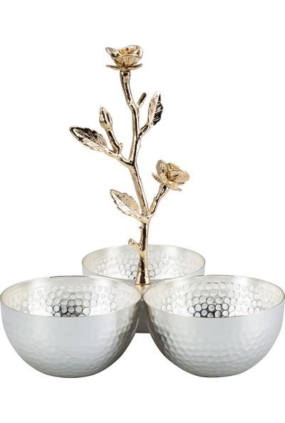 Karaca 3lü Çerezlik Gümüş