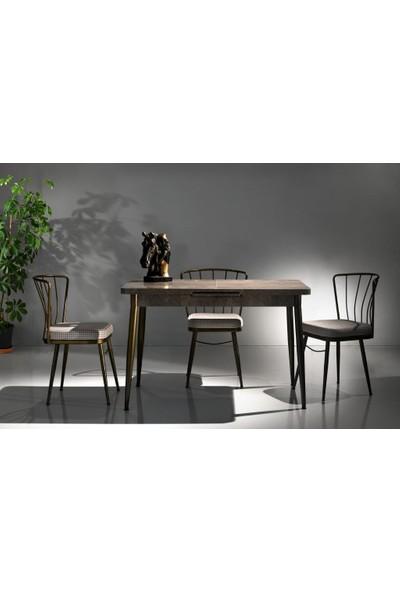 Sivasgözde Modern Mermer Desen Açılır Mutfak Masası 70X120 ve 4 Adet Sandalye