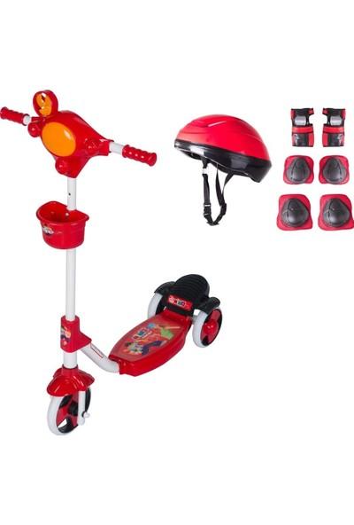 Oyuncakavm 3 Tekerlekli Çocuk Scooter Kask + Dizlik Kırmızı