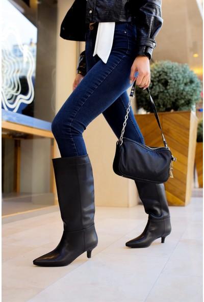 Shoemark Noya Siyah Cilt Çizme