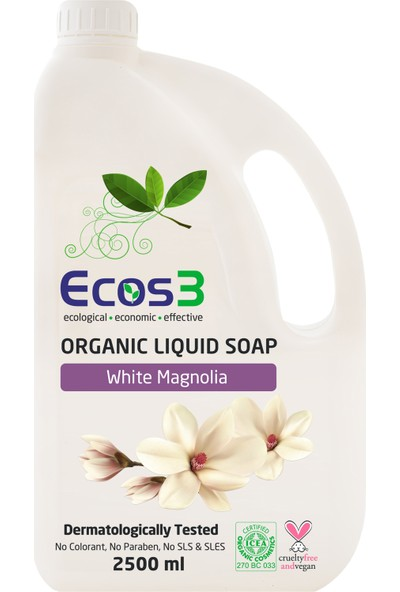 Ecos3 Organik Sıvı Sabun Beyaz Manolya 2500 ml