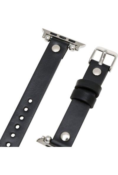 Burkley Apple Watch Deri Kordon 42 ve 44 mm Uyumlu 42VA18 Rst1 Siyah