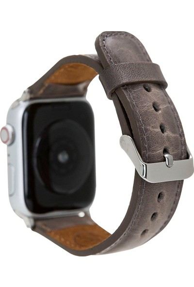 Burkley Apple Watch Deri Kordon 42 ve 44 mm Uyumlu 42EVA V23EF Gri