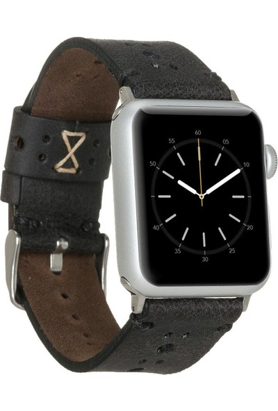 Burkley Apple Watch Deri Kordon 42 ve 44 mm Uyumlu 42BA8 Tn1 Siyah