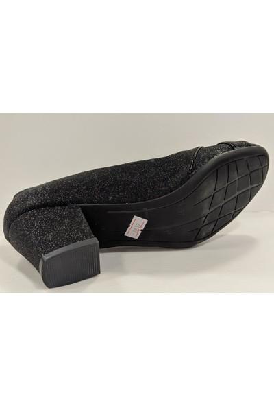 Beety 23.8612 Kalın Topuk Simli Abiye Klasik Ayakkabı