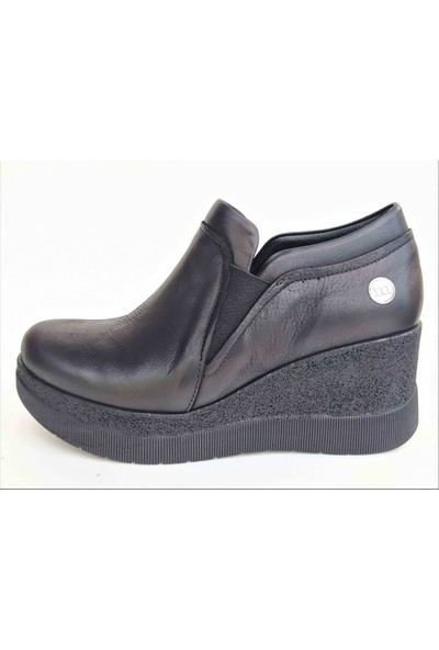 Mammamia 715 Dolgu Topuk Deri Günlük Boti Kadın Ayakkabı