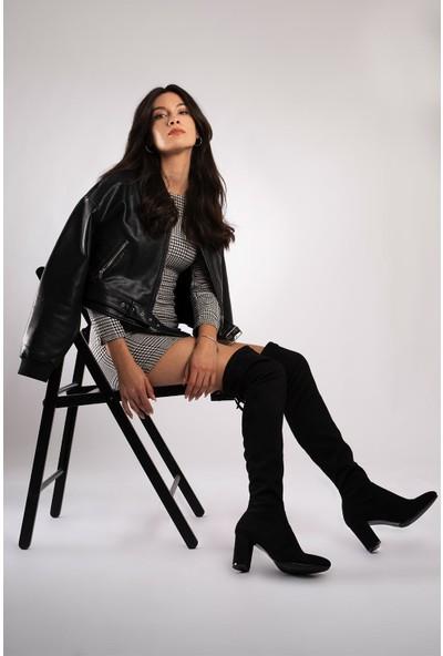 CZ London Kadın Streç Üstten Bağcıklı Çizme Büzülebilir Esnek Uzun Topuklu