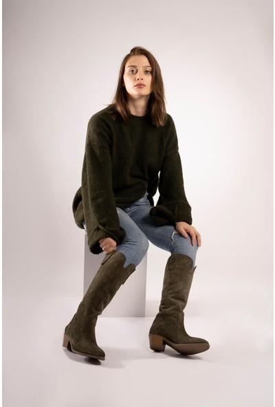 CZ London Kadın Topuklu Western Çizme Körüklü Büzgülü Uzun Bot