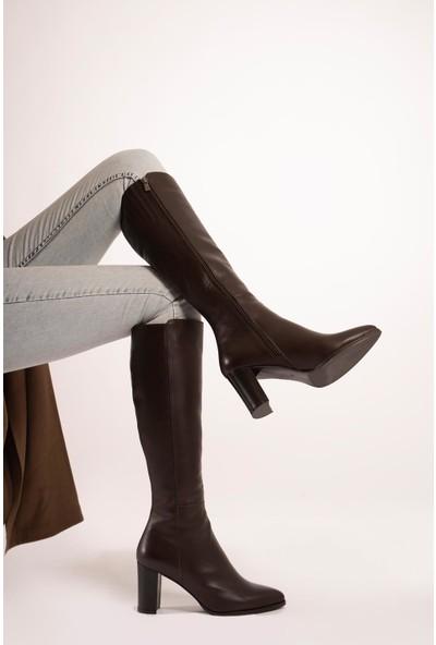 CZ London Kadın Topuklu Çizme Sivri Burun Fermuarlı Uzun Boy
