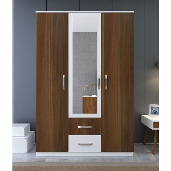 Metalia Zenit Aynalı 3 Kapaklı 2 Çekmeceli Gardırop - Ceviz Beyaz