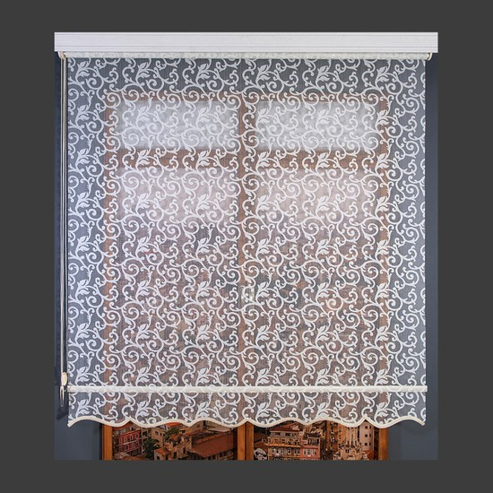 Anıper Çift Mekanizmalı Şal Desen Kemik Krem Tül Stor Perde 70x200 cm