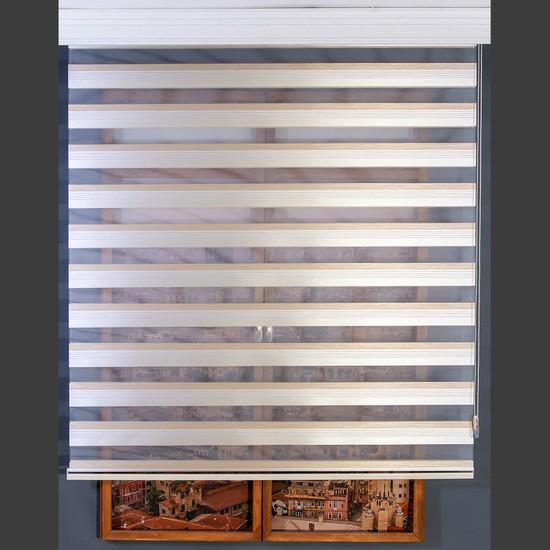 Aniper Zebra Perde Krem Kahve Şerit Çizgili Stor Tüm Ölçüler 80x200 cm