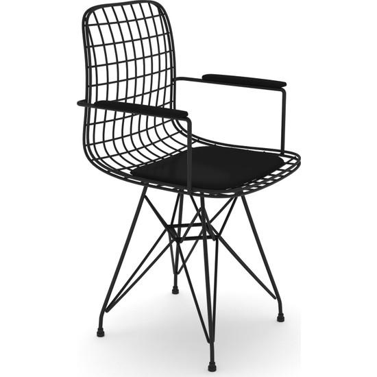 Kenz Life Kafes Tel Sandalyesi 1'Li Mazlum Kolçaklı Ofis Cafe Bahçe Mutfak