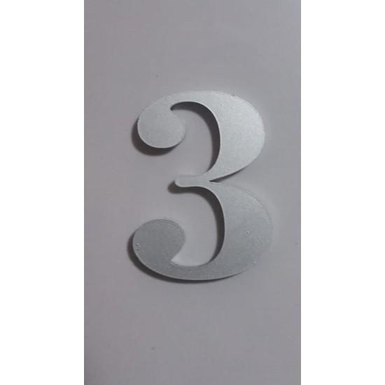 Gendec Kapı Numarası 5 cm No:3 Kendinden Yapışkanlı Metalik Gri Dolap,ayakkabılık,raf,posta Kutusu Numarası