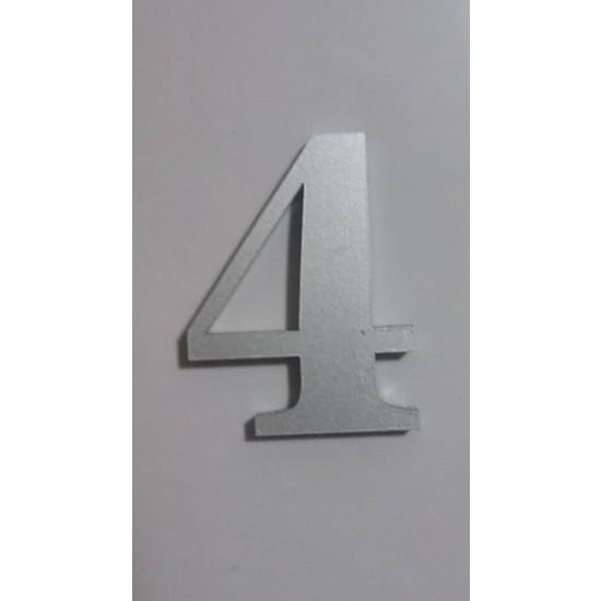Gendec Kapı Numarası 5 cm No:4 Kendinden Yapışkanlı Metalik Gri Dolap,ayakkabılık,raf,posta Kutusu Numarası