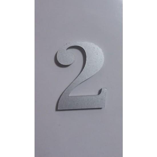 Gendec Kapı Numarası 5 cm No:2 Kendinden Yapışkanlı Metalik Gri Dolap,ayakkabılık,raf,posta Kutusu Numarası